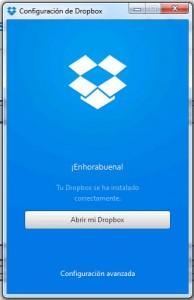 Pantalla configuración Dropbox