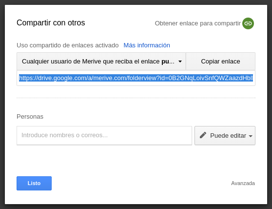 Obtener enlace Google Drive