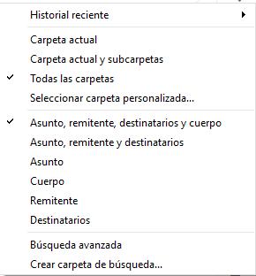 Opciones búsqueda eM Client