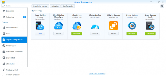 Centro paquetes Synology
