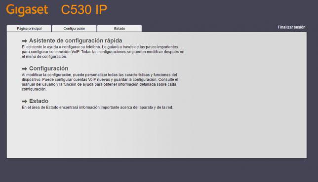 Pantalla configuración GIGASET C530I P