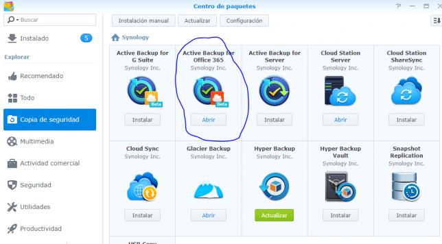 Instalación Active Backup for Office 365