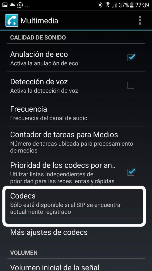 configurar codecs